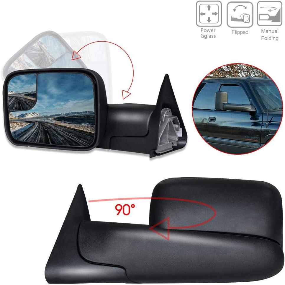 For 94-01 Dodge RAM 1500 94-02 2500//3500 RH Side Folding Black Towing Mirror