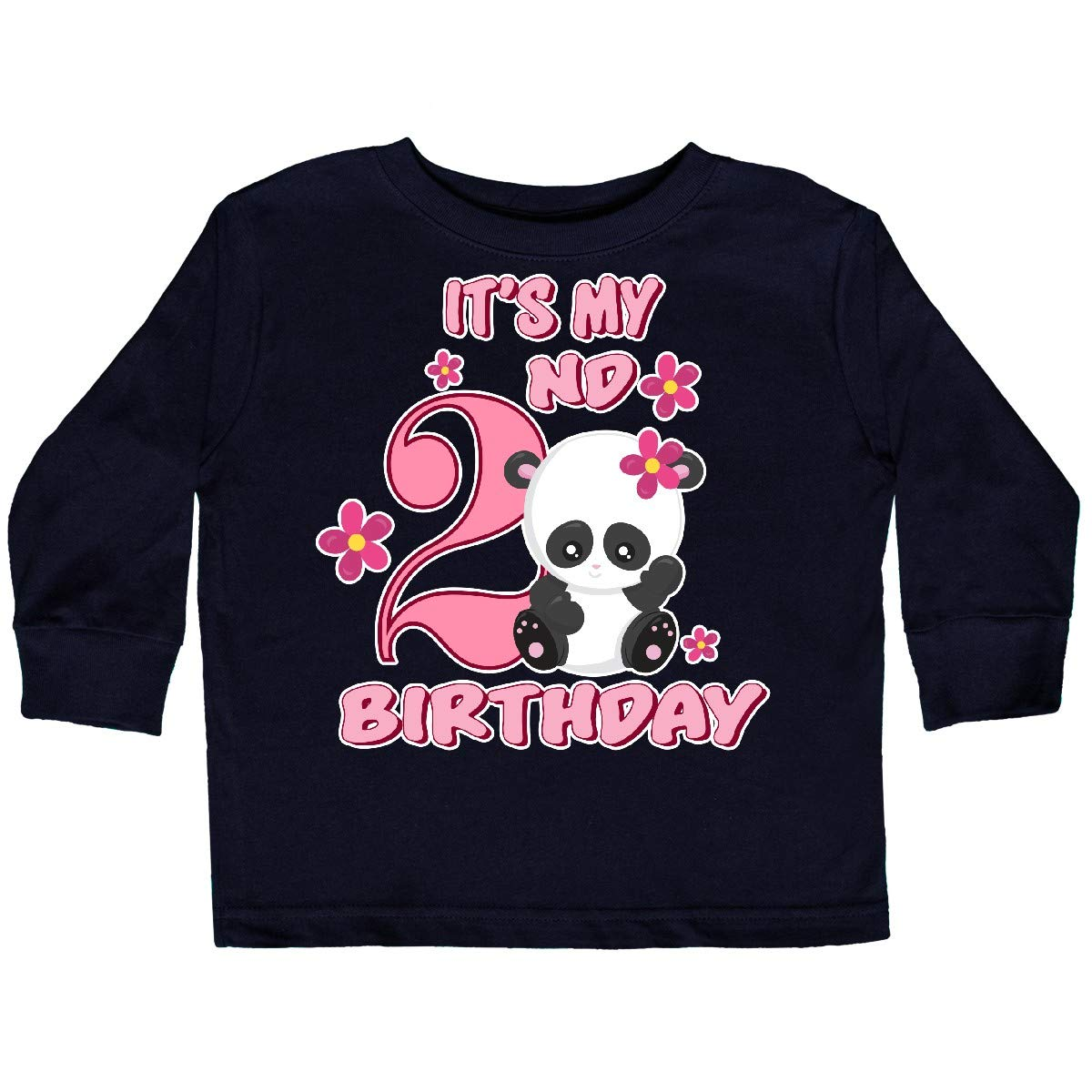 inktastic Its My Second Birthday with Panda Bear Toddler Long Sleeve T-Shirt