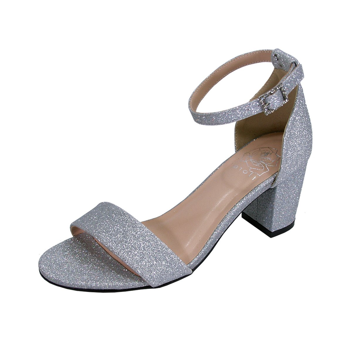 Women's Adele Silver Glitter Satin Wide Width Block Heel Ankle Strap Dress Sandals - DeluxeAdultCostumes.com