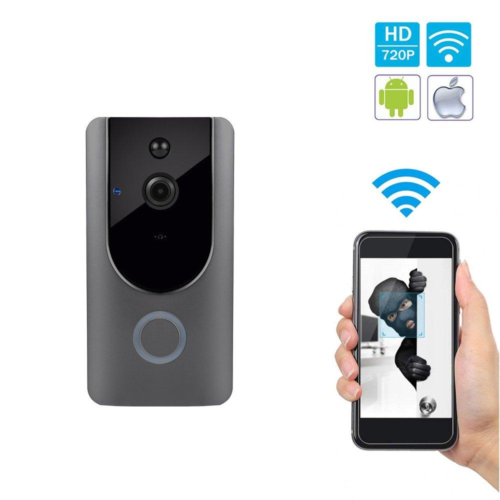 Sanqi Video-Türklingel, Smart Türklingel 720P HD Wifi Überwachungskamera, Echtzeit-Doppel-Talk und Video, Bewegungserkennung,PIR-Bewegungserkennung und iOS und Android-Anwendung zu steuern