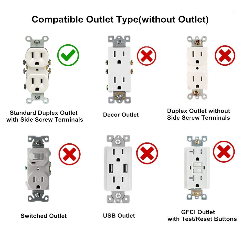 Aodigesa Outlet Wall Plate With Led Night Lights Auto Sensor Light Wiring Duplex Outlets In Parallel Covernight