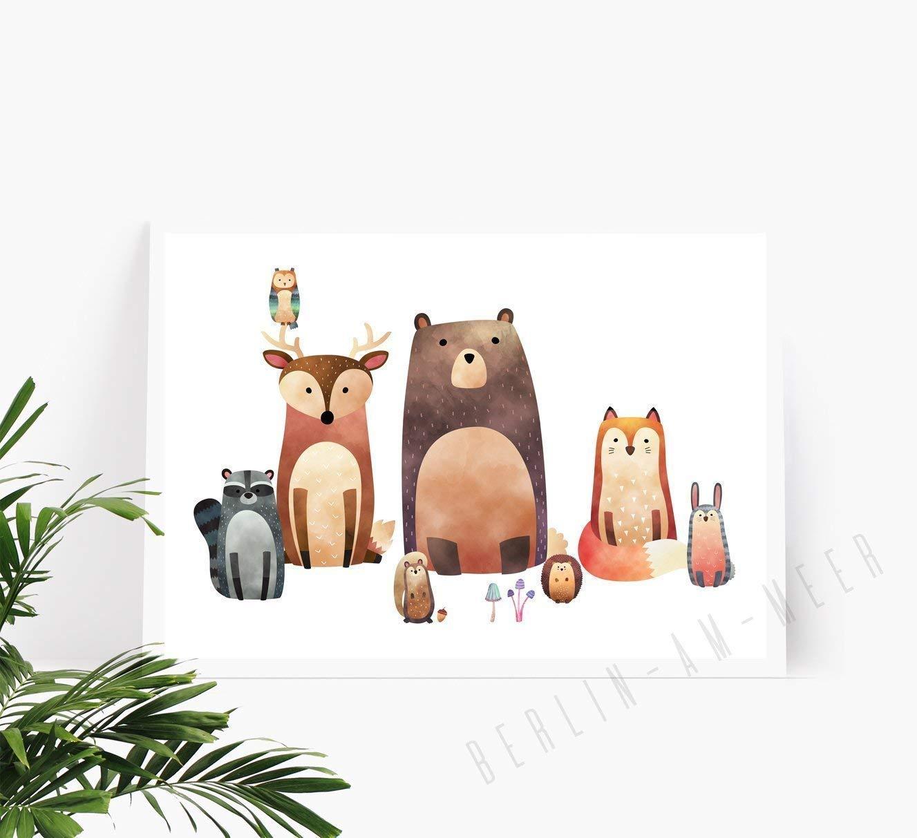 Din A4 Kunstdruck Poster Waldfreunde Ungerahmt Tier Bild