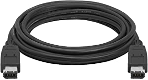 Cmple - 10FT FireWire Cable 6 Pin to 6 Pin Male to Male iLink DV Cable Firewire 400 IEEE 1394 Cord - 10 Feet Black