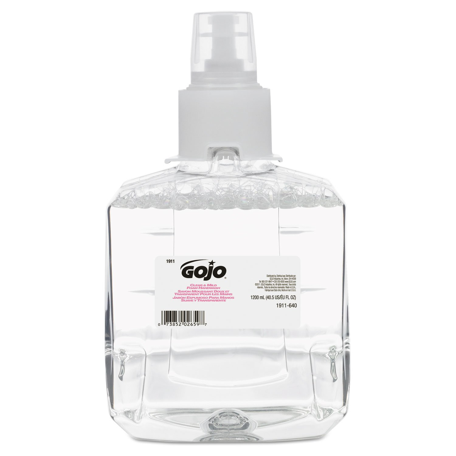 Gojo Foam Handwash LTX Refill, 1200ml, 2/CT,Clear/Mild