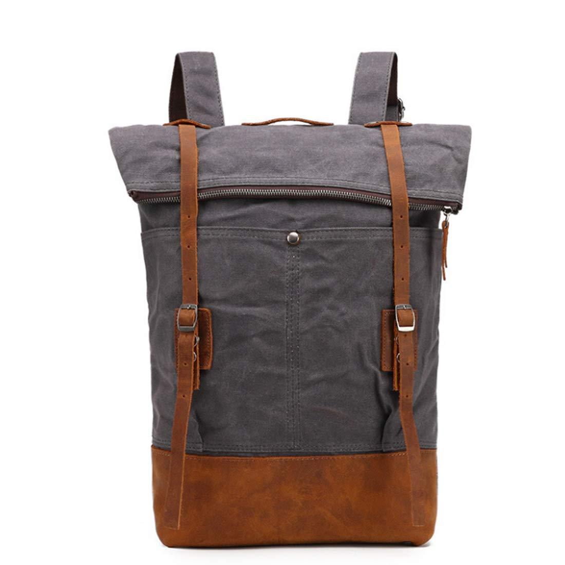 CAFUTY バックパックのバックパックカジュアルなバックパックレトロ旅行のバックパックの男性と女性のラップトップのバックパック (Color : グレー) B07P8VJBTD グレー