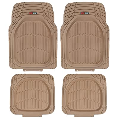 Motor Trend Flextough Tortoise - Heavy Duty Rubber Floor Mats for Car SUV Van & Truck - All Weather Protection - Deep Dish (Tan Beige): Automotive