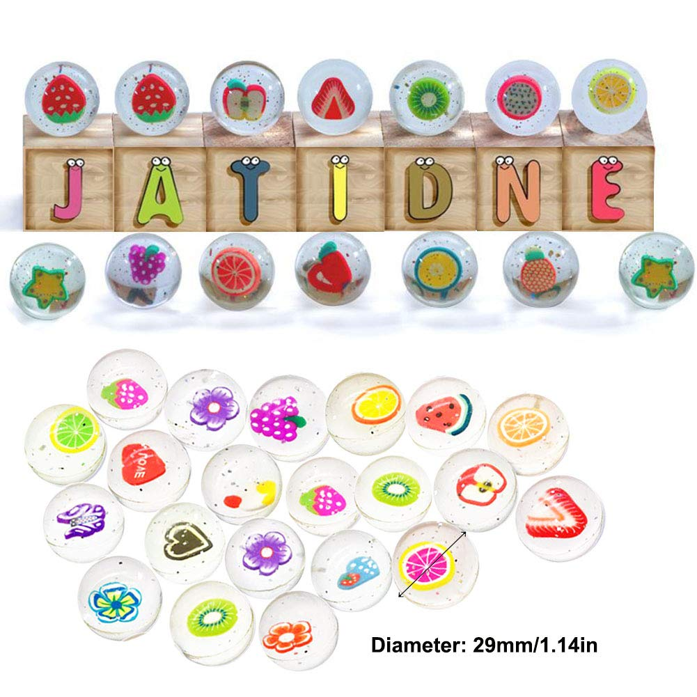 Jatidne 25 Pieces Bouncy Balls for Party Bag Fillers Kids Party Gift School Prize 30mm Diameter Clear Fruit and Flower