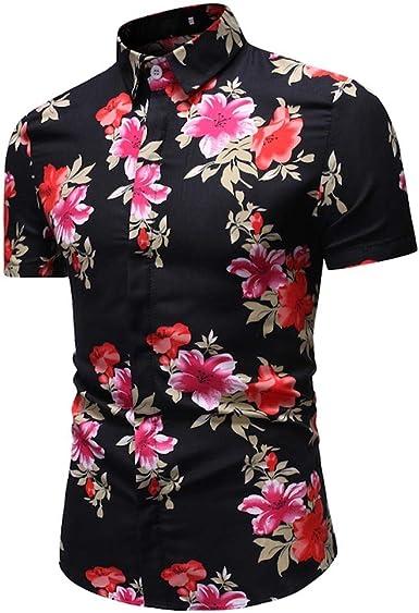 Camisas de Hombre T Shirt tee Camiseta cómoda con Cuello Alto y Corte Ajustado Manga Corta Top Blusa de Corta Estampado Moda: Amazon.es: Ropa y accesorios