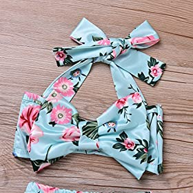 - 61MCe92iCpL - 2Pcs Baby Girls Halter Bowknot Tube Top+Floral Short Bottoms Bikini Bathing Suit Swinwear