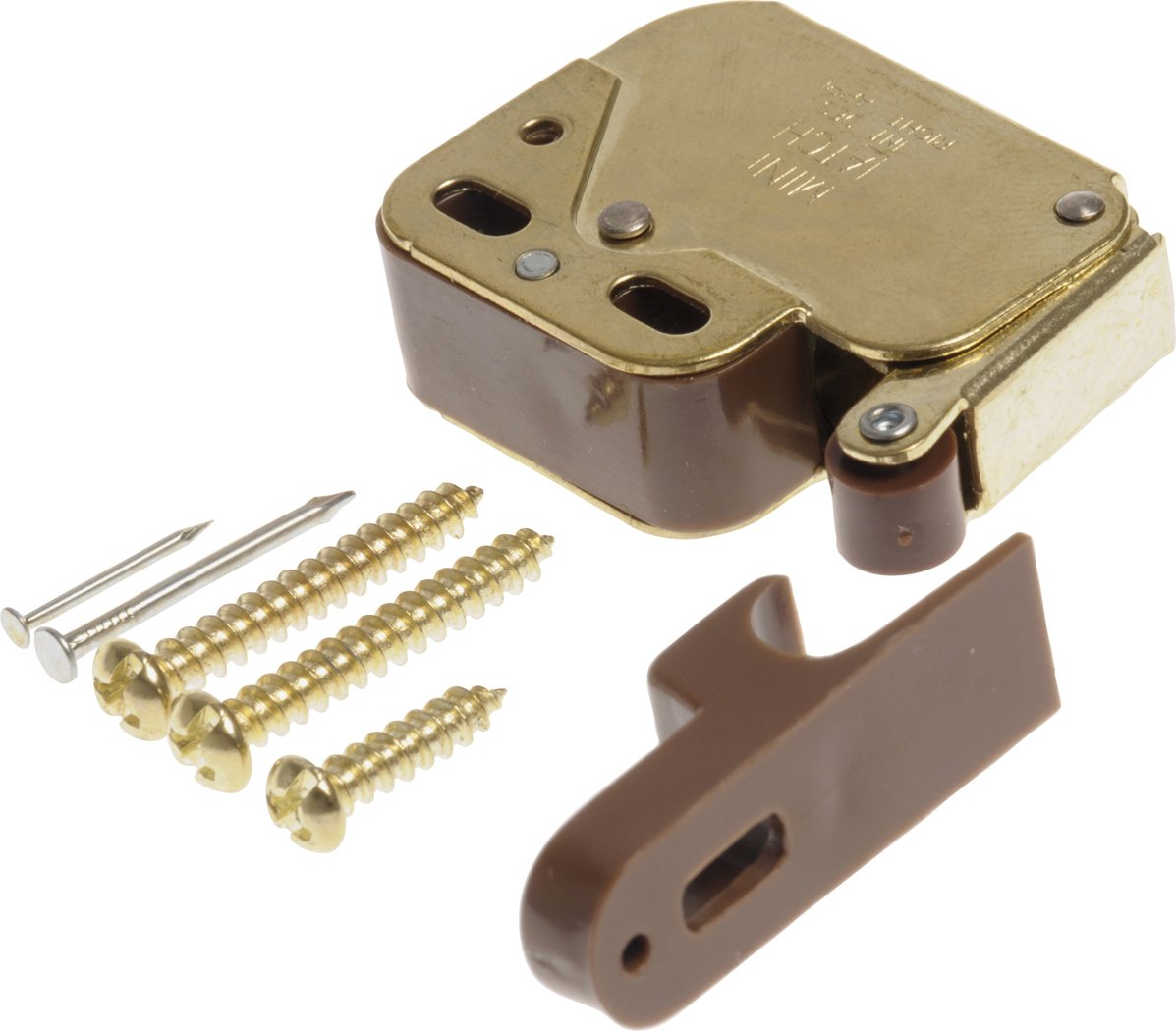 The Hillman Group 59280 Polished Brass Mini-Latch with Catch, 2-Pack