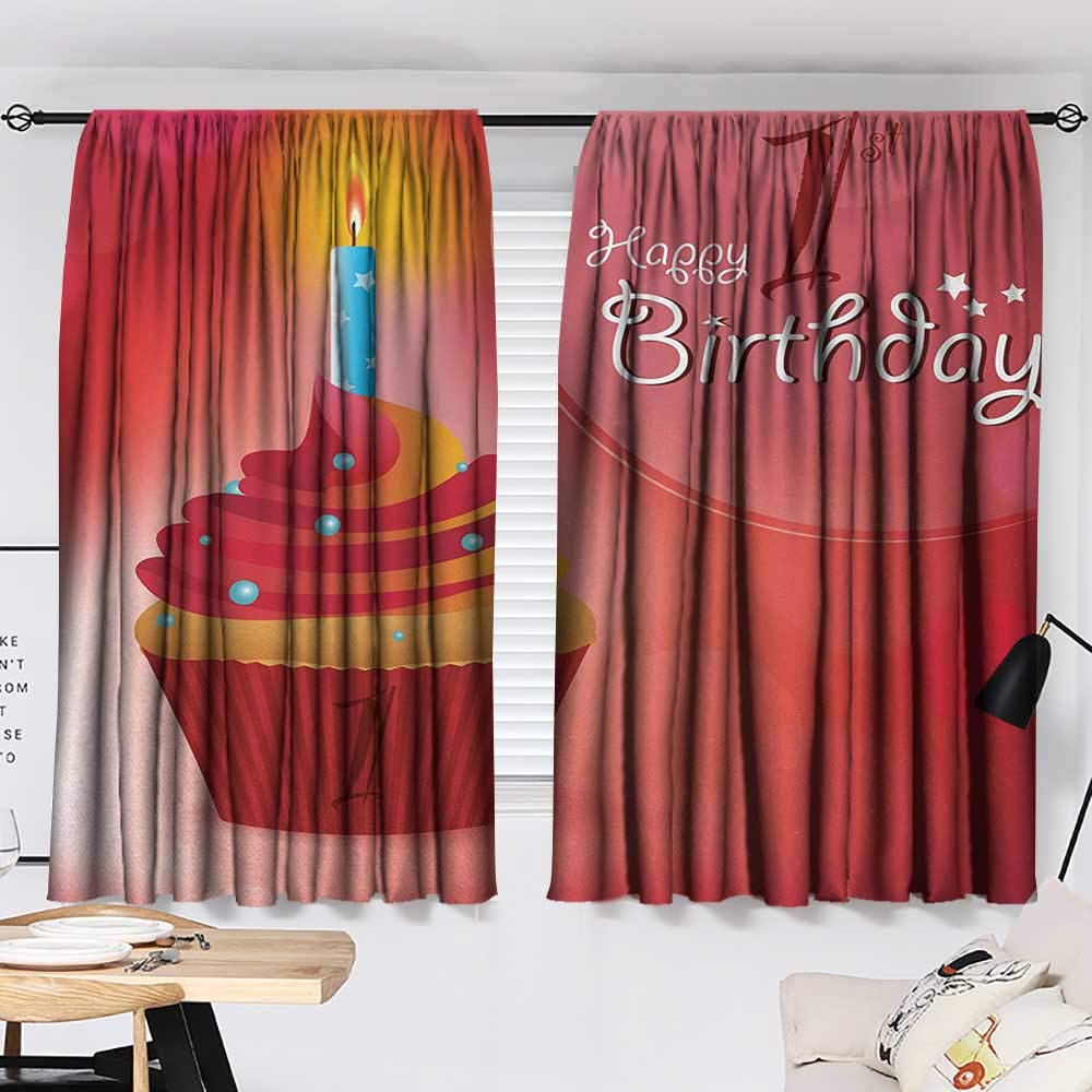 Jinguizi 1st Birthday Set of 2 Panels Abstract Background with Sunbeams and Party Cupcake Candlestick Image reducing Noise Darkening Curtains Orange and Red W55 x L39 by Jinguizi (Image #2)