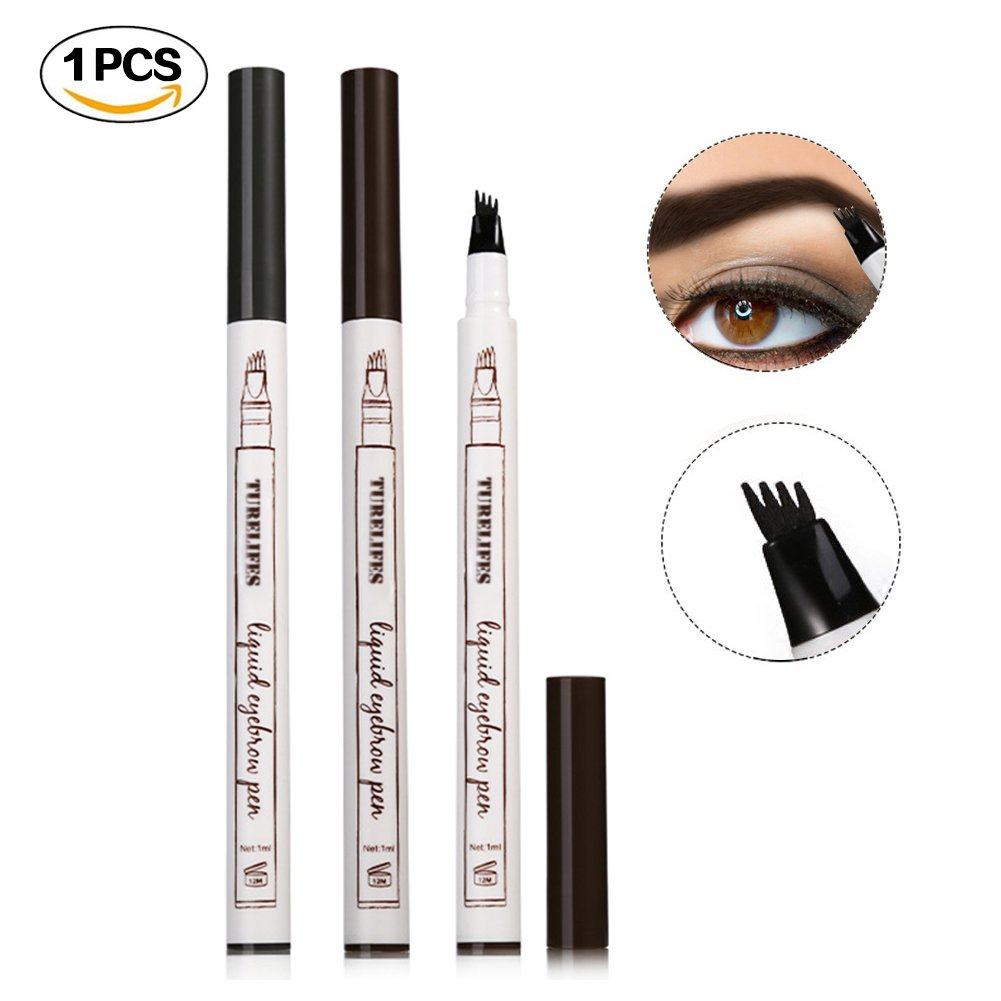 Turelifes Tattoo Eyebrow Pen with Four Tips Long-lasting Waterproof Brow Gel for Eyes Makeup 1 Pack (#2 Brown) Chunbi