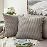 Decorative Pillow Cover - Pack of 2,Miulee Corduroy Soft Soild Decorative Square Throw Pillow Covers Set Cushion Cases PillowCases for Sofa Bedroom Car 18 x 18 Inch 45 x 45 Cm