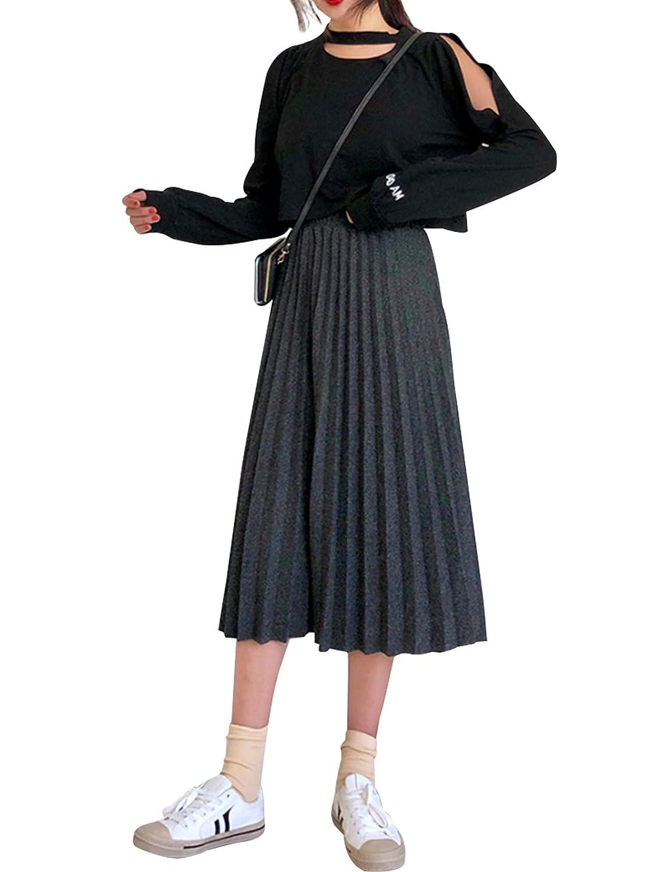 cintura plisada Letuwj larga en Mujer Top Falda lana de 3jLR54Aq