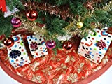 """47.2"""" Red Fabric With Gold Glitter Christmas Tree Skirt - Red/Gold"""