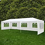 Uenjoy 10'x30' Party Tent Canopy Wedding Tent Event Tent Outdoor Gazebo White with 5 Sidewall