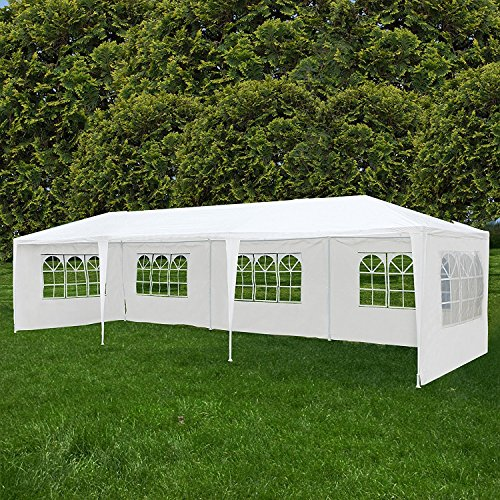 (Uenjoy 10'x30' Party Tent Canopy Wedding Tent Event Tent Outdoor Gazebo White with 5 Sidewall)