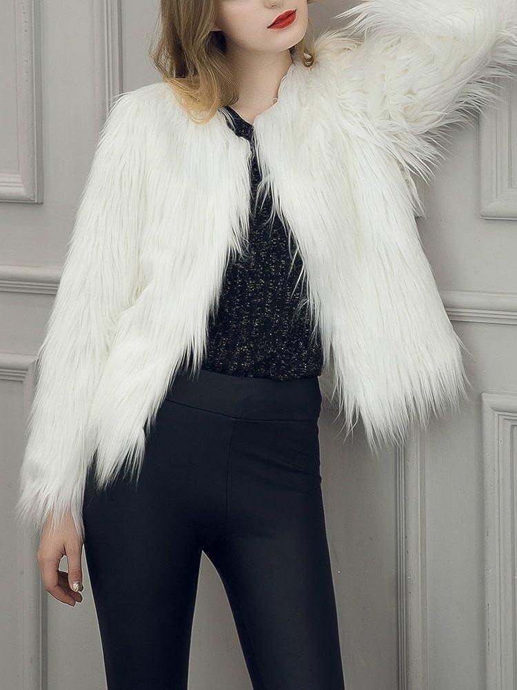 Simplee Apparel Womens Vintage Winter Warm Fluffy Faux Fur Coat Jacket Outwear