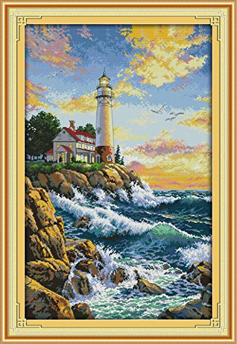 Cross stitch kits for lighthouse - Eafior DIY Handmade Needlework Embroidery Kits lighthouse pattern printed design Home Decoration Wall Decor 44×65cm(No (Lighthouse Cross Stitch Pattern)