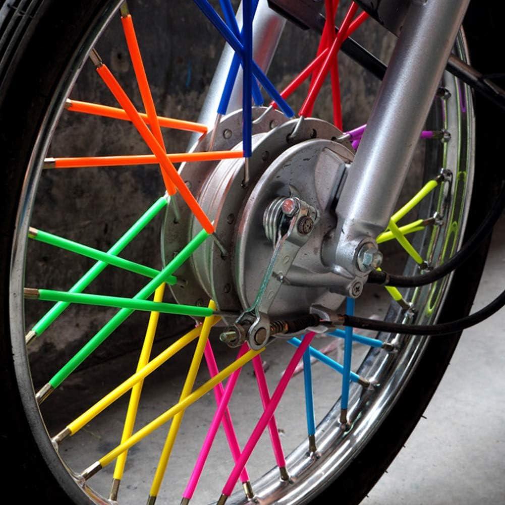 6 7 V/élos de Salet/é Roue a Parl/é D/écoration Protection Housse Qmcmc Accessoires de Moto 72 Pcs Peaux de Rayons Universelles Couvre 17 Cm