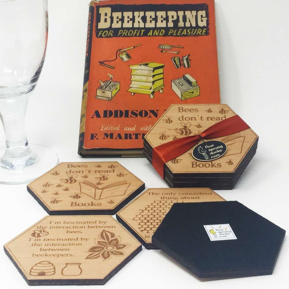 Bee Keeper Coasters gift. Bee keeping coaster set of 4 designs.Bees, beehives and bee keeper sayings.4 great designs for bee lovers!