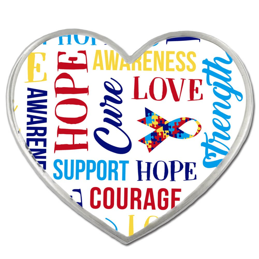 PinMart's Autism Awareness Heart w/ Words and Ribbon Enamel Lapel Pin
