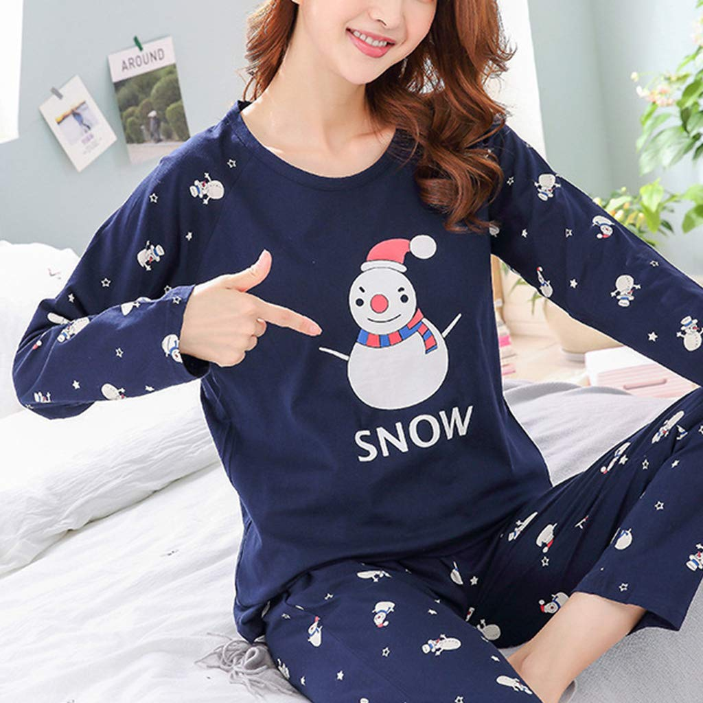9c419bb8a2 unuyea Womens Winter Autumn Two Piece Pajamas Set Long Sleeve Round Neck  Tops Cotton Sleepwear Cute Snowman Letters Print Loose Loungewear   Amazon.in  ...