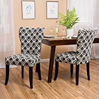 Kalee Light and Navy Blue Print Fabric Dining Chair (Set of 2)