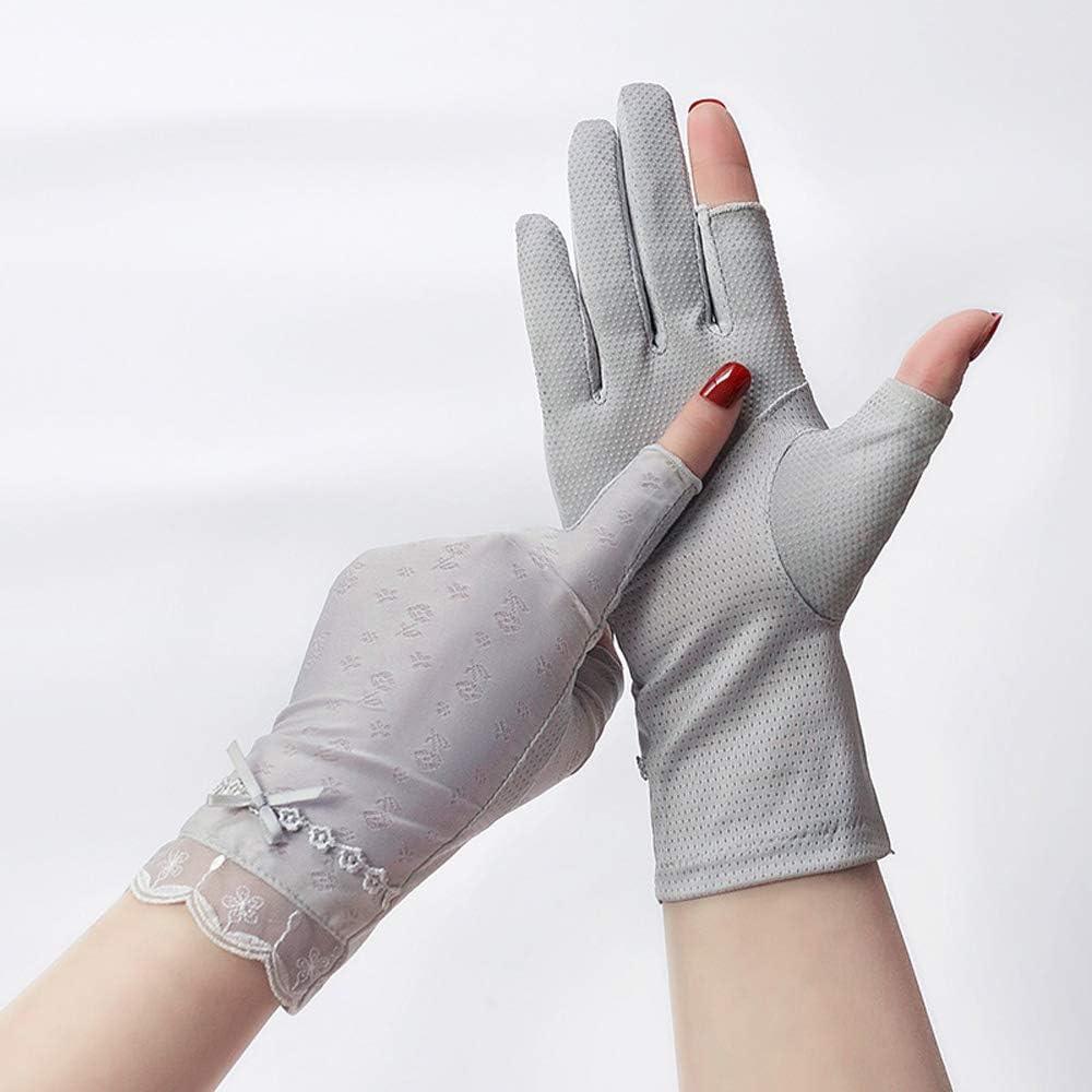 Uoyov Pulgar del Dedo índice de protección Solar Guantes Mujer Delgada Medio Dedo de conducción Antideslizante de Seda del Hielo de Verano Anti-Ultravioleta de Fuga Dedo cort