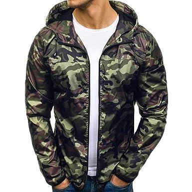Longra Herren Jacke Windbreaker Camouflage Übergangs Jacke Regenjacke  Kapuzenjacke Camo Style Zip-Hoodie Mens Herbst b7319e8db8