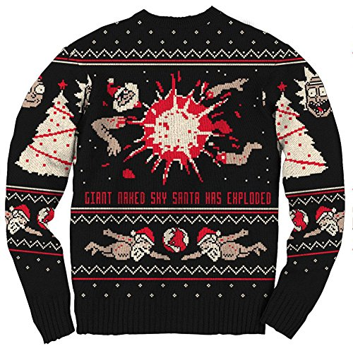 Rick And Morty Ugly Christmas Sweater.Rick And Morty Happy Human Holiday Ugly Christmas Sweater
