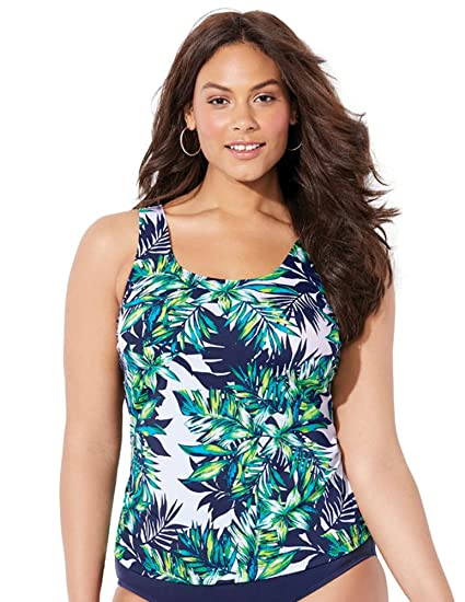 0bac3dc3af0 Swimsuits for All Women s Plus Size Green Palm Tankini Top at Amazon  Women s Clothing store