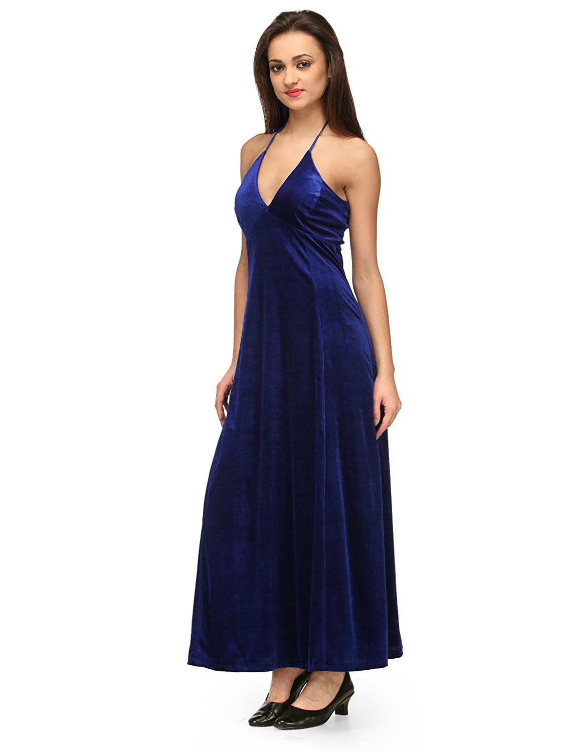 bec374d7c1fa XOXO Blue Velvet Maxi Gown  Amazon.in  Clothing   Accessories