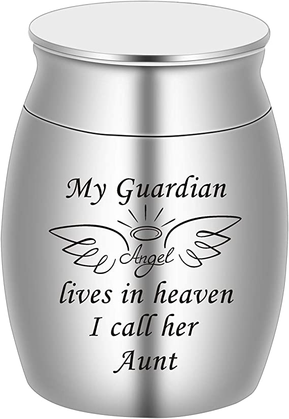 BGAFLOVE Cremation Keepsake Urns for Human Ashes Mini Cremation Urn Small Funeral Urns for Ashes Stainless Steel Cremation Funeral Urn-My Aunt Forever Loved