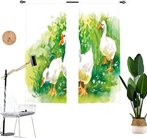 Duck Decorative Blackout Curtains,Goose in Farm Lake Plants Grass Reeds Flowers Pond Animals Geese Feathers Life Decor Light Blocking Curtains for Living Room,2 Panel Set,W36 x L45 Each Panel