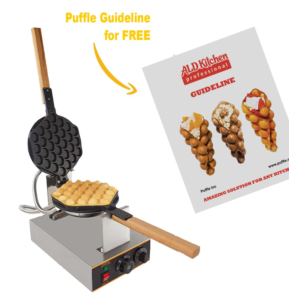 Puffle Waffle Maker Professional Rotated Nonstick ALD Kitchen (Grill / Oven for Cooking Puff, Hong Kong Style, Egg, QQ, Muffin, Eggettes and Belgian Bubble Waffles) (220V with EURO Plug) by ALDKitchen