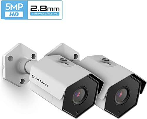 2-Pack Amcrest UltraHD 5MP Outdoor POE Camera, Bullet IP Security Camera, Outdoor IP67 Waterproof, 104 Viewing Angle, 98ft Night Vision, 5-Megapixel, 2PACK-IP5M-1173EW White