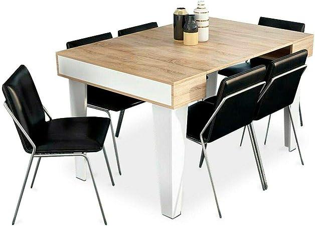 Home Innovation Table Console Extensible Rectangulaire Avec Rallonges Nordic Kl Jusqu à 140 Cm Style Scandinave Pour Salle à Manger Et Séjour