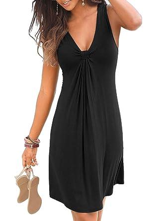 c519aca563ced CILKOO Women Loose Tunic Beach Mini Dress Shift Dress Black Dress Pleated  Casual Loose Swing T