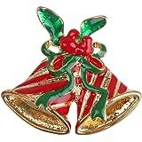 Weihnachten Schmuck Broschen Doppel Glocken Holly Geschenk Gold