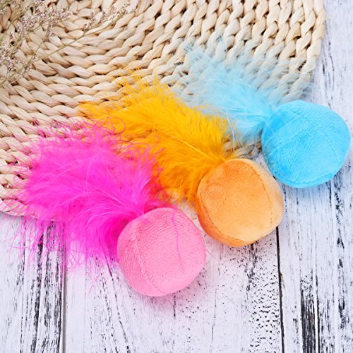 UEETEK Cat Feather Ball, Catnip Ball Interactive Toys with Bell for Kitten, Pack of 6 6