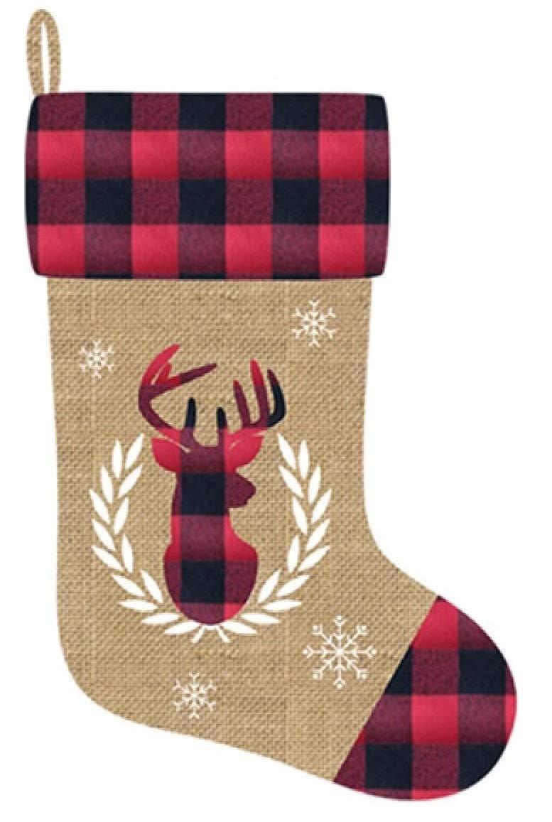 Santas Secrets 20 Faux Burlap Christmas Stocking w//Buffalo Plaid Reindeer Applique CTG