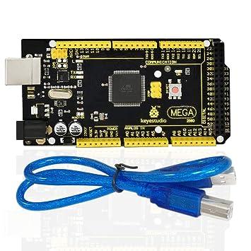 KEYESTUDIO Mega 2560 R3 Tarjeta Mega 2560 Placa con Microcontrolador Basada en el ATmega2560 ATmega16U2 Principal