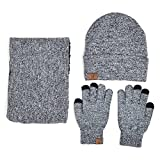 Xianheng Hat Scarf Gloves Touch Screen 3 Pieces Winter Knitted Set for Men Women