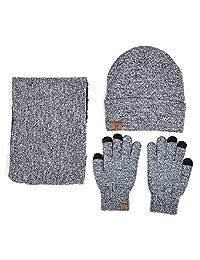 Xianheng Winter Knitted Hat Scarfs Mitts Gloves Set 3PCS Knit Warm Men Women #1