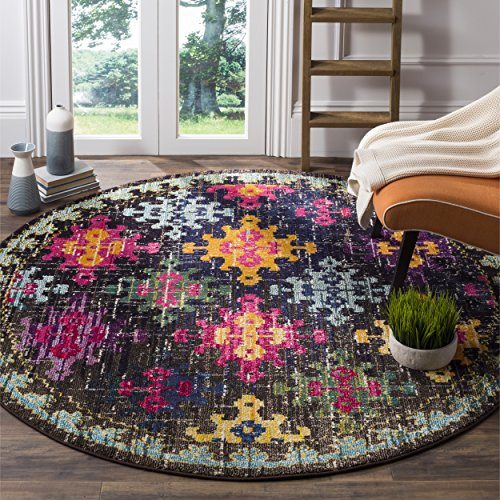 Safavieh Monaco Collection MNC244F Modern Bohemian Diamond Multicolored Round Area Rug (6'7'' Diameter) by Safavieh