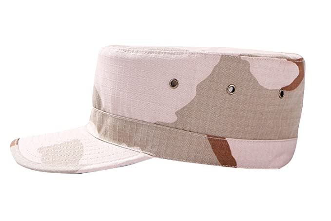 99129956 Unisex Fitted Army Military Cadet Hat Ripstop Camouflage Ballcap Flat Top  Cap 3 Color Desert S