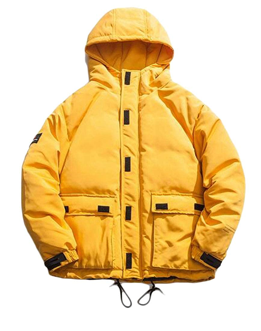 XXBlosom Mens Winter Thick Hooded Outwear Jacket Cotton-Padded Parkas Coats