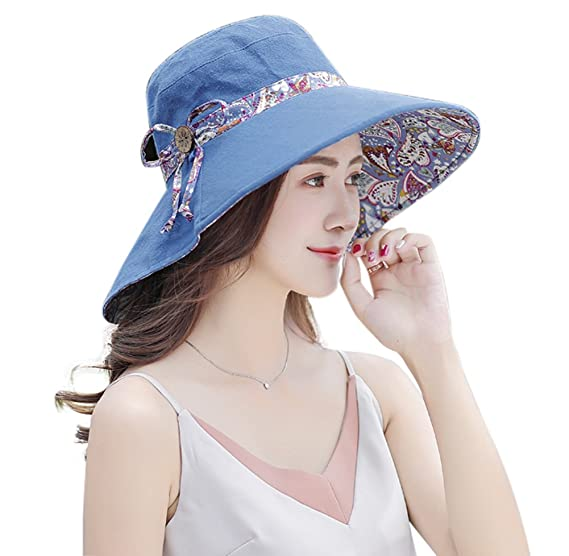 5881296c4b3 Women s Summer Foldable Wide Brim Sun Hat UV Protection Beach Cap (Blue)