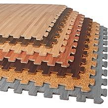 "Forest Floor 3/8"" Thick Printed Wood Grain Interlocking Foam Floor Mats"